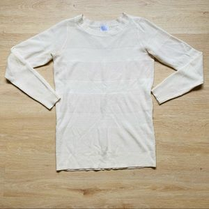 Vintage Off-white Striped Long Sleeve Knit Top Size S